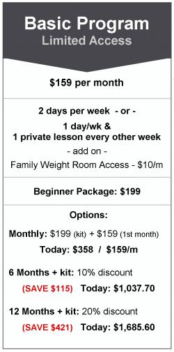 martial arts class program pricing